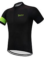 Недорогие -Vendull Муж. С короткими рукавами Велокофты Черный / зеленый Велоспорт Джерси Верхняя часть Дышащий Быстровысыхающий Анатомический дизайн Виды спорта Зима 100% полиэстер / Эластичная