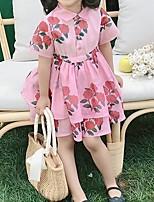 Недорогие -Дети Девочки Цветочный принт Платье Розовый