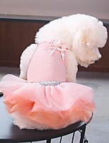 Недорогие -Собаки Платья Одежда для собак Однотонный Черный Розовый Полиэстер Костюм Назначение Лето Свадьба