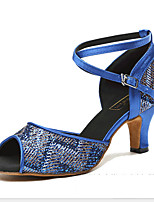 Недорогие -Жен. Танцевальная обувь Замша Обувь для латины На каблуках Тонкий высокий каблук Миндальный / Синий