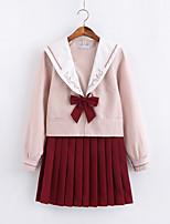 Недорогие -Вдохновлен Косплей Школьницы Аниме Косплэй костюмы Японский Косплей Костюмы / Школьная форма Юбки / Кофты / лук Назначение Жен.