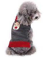 Недорогие -Собаки Свитера Одежда для собак Английский Рождество Северный олень Серый Акриловые волокна Костюм Назначение Корги Гончая Шиба-Ину Весна Осень Универсальные Хэллоуин Рождество
