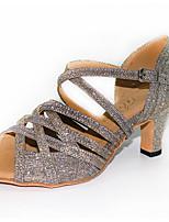 Недорогие -Жен. Танцевальная обувь Синтетика Обувь для латины На каблуках Кубинский каблук Персонализируемая Синий / Серый