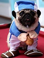 Недорогие -Собаки Коты Животные Костюмы Комбинезоны Одежда для собак Пэчворк Синий Полиэстер Костюм Назначение Зима Хэллоуин