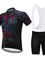 Недорогие -Vendull Цветочные ботанический Муж. С короткими рукавами Велокофты и велошорты-комбинезоны - Черный Черный / Белый Велоспорт Наборы одежды Дышащий Быстровысыхающий Анатомический дизайн Виды спорта
