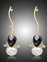 cheap -Women's Cubic Zirconia Drop Earrings Classic Petal Stylish Earrings Jewelry Black For Party Evening Gift Date Festival 1 Pair