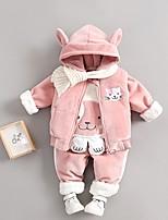 Недорогие -малыш Девочки Активный С принтом Длинный рукав Обычный Набор одежды Розовый