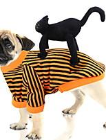 Недорогие -Собаки Коты Инвентарь Одежда для собак Полоски Оранжевый Полиэстер Костюм Назначение Зима Праздник Хэллоуин