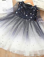 Недорогие -Дети Девочки Контрастных цветов Платье Темно синий