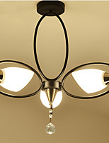 Недорогие -антикварные люстры 3 светильника Люстра полу-скрытого окружающего света окрашенная отделка металлические стеклянные потолочные светильники для спальни / гостиной / веранды