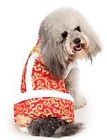 Недорогие -Собаки Плащи Одежда для собак Вышивка Коричневый Оранжевый Желтый Полиэстер Костюм Назначение Зима Праздник