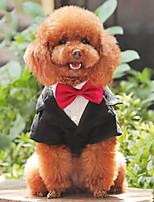 Недорогие -Собаки Инвентарь Одежда для собак Полоски Черный Полиэстер Костюм Назначение Лето Свадьба