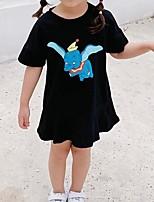 Недорогие -Дети Девочки Мультипликация С принтом С короткими рукавами Платье Черный