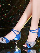 Недорогие -Жен. Танцевальная обувь Синтетика Обувь для латины / Обувь для модерна Пайетки На каблуках Кубинский каблук Золотой / Красный / Синий