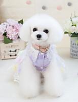 Недорогие -Собаки Инвентарь смокинг Одежда для собак Геометрический принт Лиловый Розовый Полиэстер Костюм Назначение Лето Мужской Свадьба