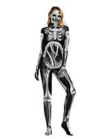 Недорогие -Скелет / Череп Косплэй Kостюмы Взрослые Жен. Сплошной Хэллоуин Хэллоуин Фестиваль / праздник Полиэстер Черный Жен. Карнавальные костюмы / трико / Комбинезон-пижама