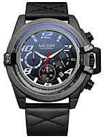 Недорогие -MEGIR Муж. Спортивные часы Кварцевый Спортивные Стильные Натуральная кожа Черный 30 m Защита от влаги Календарь Секундомер Аналоговый На каждый день Мода - Черный Белый Два года Срок службы батареи