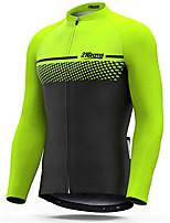 Недорогие -21Grams Муж. Длинный рукав Велокофты Зеленый / черный Велоспорт Джерси Верхняя часть Сохраняет тепло Устойчивость к УФ Дышащий Виды спорта Зима 100% полиэстер Горные велосипеды Шоссейные велосипеды