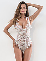 cheap -Women's Lace / Backless / Cut Out Suits Nightwear Jacquard / Solid Colored Blushing Pink Green White S M L