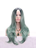 Недорогие -Парики из искусственных волос Естественные кудри Стиль Стрижка каскад Без шапочки-основы Парик Оранжевый Мятно-зелёный Искусственные волосы 24 дюймовый Жен. Модный дизайн Женский Зеленый Коричневый