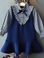 Недорогие -Дети Девочки Гусиная лапка Платье Темно синий
