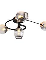Недорогие -4-головочный металлический потолочный светильник в скандинавском стиле, современный потолочный светильник из полузатопленного стекла, гостиная, спальня, столовая, освещение.