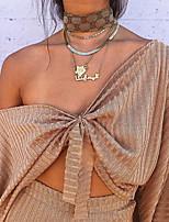 Недорогие -Жен. Блуза Классический Однотонный Хаки