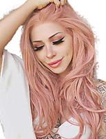 Недорогие -Синтетические кружевные передние парики Волнистый Стиль Средняя часть Лента спереди Парик Оранжевый Искусственные волосы 18-26 дюймовый Жен. Регулируется / Жаропрочная / Для вечеринок Розовый Парик