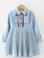 Недорогие -Дети Девочки Однотонный Платье Светло-синий