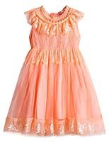 Недорогие -Дети Дети (1-4 лет) Девочки Активный Милая Однотонный Кружева С короткими рукавами До колена Платье Белый