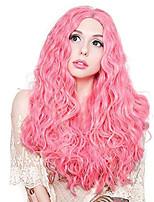 Недорогие -Синтетические кружевные передние парики Волнистый Стиль Средняя часть Лента спереди Парик Розовый Розовый Искусственные волосы 18-26 дюймовый Жен. Регулируется Жаропрочная Для вечеринок Розовый Парик