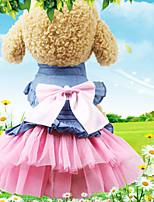 Недорогие -Собаки Коты Животные Платья Одежда для собак Бант Черный Синий Розовый Полиэстер Костюм Назначение Лето Свадьба