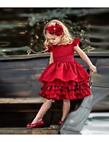 Недорогие -Дети Девочки Однотонный Без рукавов До колена Платье Красный
