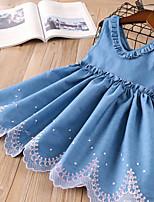 Недорогие -Дети Девочки Классический Однотонный Без рукавов Выше колена Платье Светло-синий