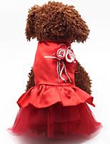 Недорогие -Собаки Коты Животные Платья Одежда для собак Цветы Лиловый Красный Синий Полиэстер Костюм Назначение Лето Цветочный дизайн
