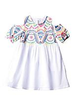Недорогие -Дети Девочки Геометрический принт Платье Белый