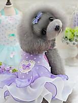 Недорогие -Собаки Коты Животные Платья Одежда для собак Тонкая прозрачная ткань Лиловый Розовый Полиэстер Костюм Назначение Лето Симпатичные Стиль