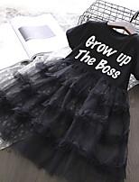 Недорогие -Дети Девочки Буквы Платье Черный