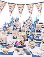 Недорогие -Детский душ день рождения зоопарк тема праздничные атрибуты поставки единорог бумажный стаканчик тарелка посуда поставки