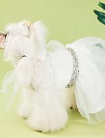 Недорогие -Собаки Платья Одежда для собак Однотонный Белый Полиэстер Костюм Назначение Лето Мужской Свадьба