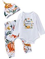 Недорогие -малыш Девочки Уличный стиль Геометрический принт / Halloween Длинный рукав Обычный Хлопок Набор одежды Белый