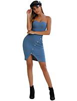 Недорогие -Жен. Оболочка Платье - Однотонный Ассиметричное