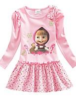 Недорогие -Дети Дети (1-4 лет) Девочки Активный Милая Мультипликация С принтом Длинный рукав Выше колена Платье Розовый