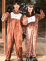 Недорогие -Взрослые Пижамы кигуруми Медведи Цельные пижамы Фланелет Коричневый Косплей Для Муж. и жен. Нижнее и ночное белье животных Мультфильм Фестиваль / праздник костюмы