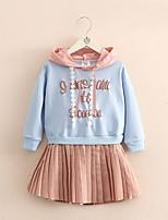 Недорогие -Дети Девочки Буквы Платье Светло-синий