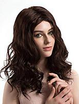 Недорогие -Синтетические кружевные передние парики Волнистый Стиль Средняя часть Лента спереди Парик Умеренно-коричневый Искусственные волосы 14-18 дюймовый Жен. Регулируется Жаропрочная Для вечеринок Коричневый