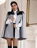 Недорогие -Жен. Повседневные Обычная Пальто, Однотонный Воротник-стойка Рукав до локтя Полиэстер Серый