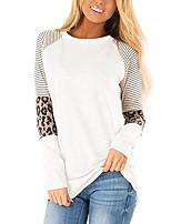 Недорогие -Жен. Блуза Классический Однотонный / Леопард Черный