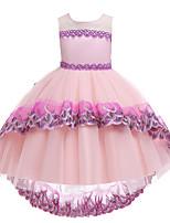 Недорогие -Дети Девочки Симпатичные Стиль Контрастных цветов Пэчворк Без рукавов Ассиметричное Платье Черный