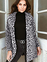 Недорогие -Жен. Повседневные Обычная Пальто с мехом, Леопард Отложной Длинный рукав Искусственный мех Желтый / Серый